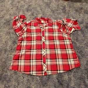 Red blue white plaid shirt